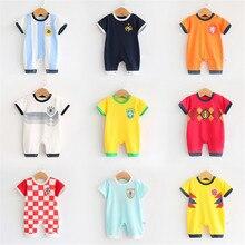 27ed4d8484f73 2018 infantil del bebé que arropa la manga corta Romper para niños deportes  trajes fútbol uniforme de fútbol ropa de bebé
