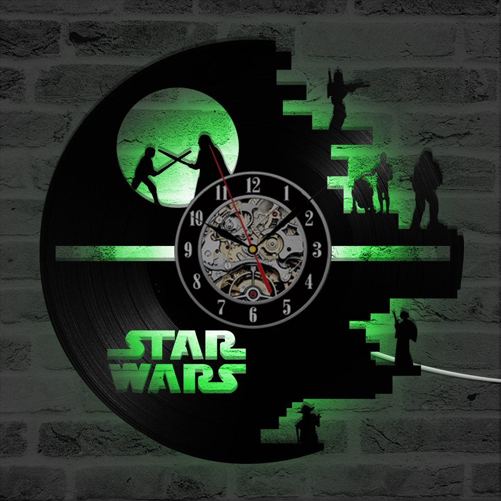 Image 3 - 3D Star Wars Record Clock Vinyl LP Hollow CD Clock Decor Home 