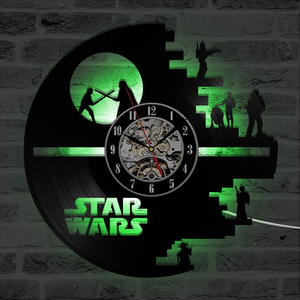 Image 3 - 3D Star Wars Record Clock Vinyl LP Hollow CD Clock Decor Home Hanging Wall Clock Creative and Antique Style LED Clock