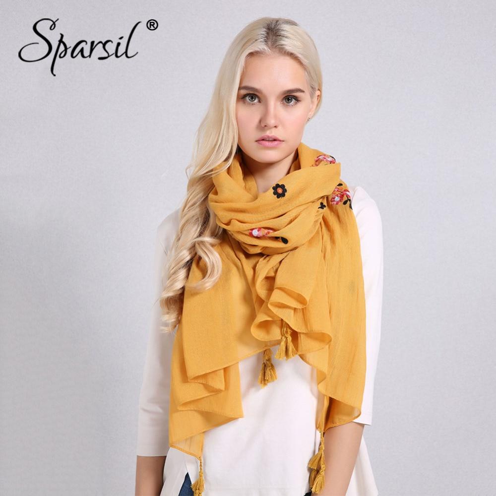 Sparsil Women Solid Color Cotton Linen   Scarf   Classic Tassel Retro Floral Embroidery Shawls   Wrap   Autumn New Soft Comfort Pashmina