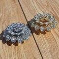 Criativo da moda top quality rhinestone decoração de móveis lida com ouro prata flor vinho gaveta do armário puxa maçanetas de cristal