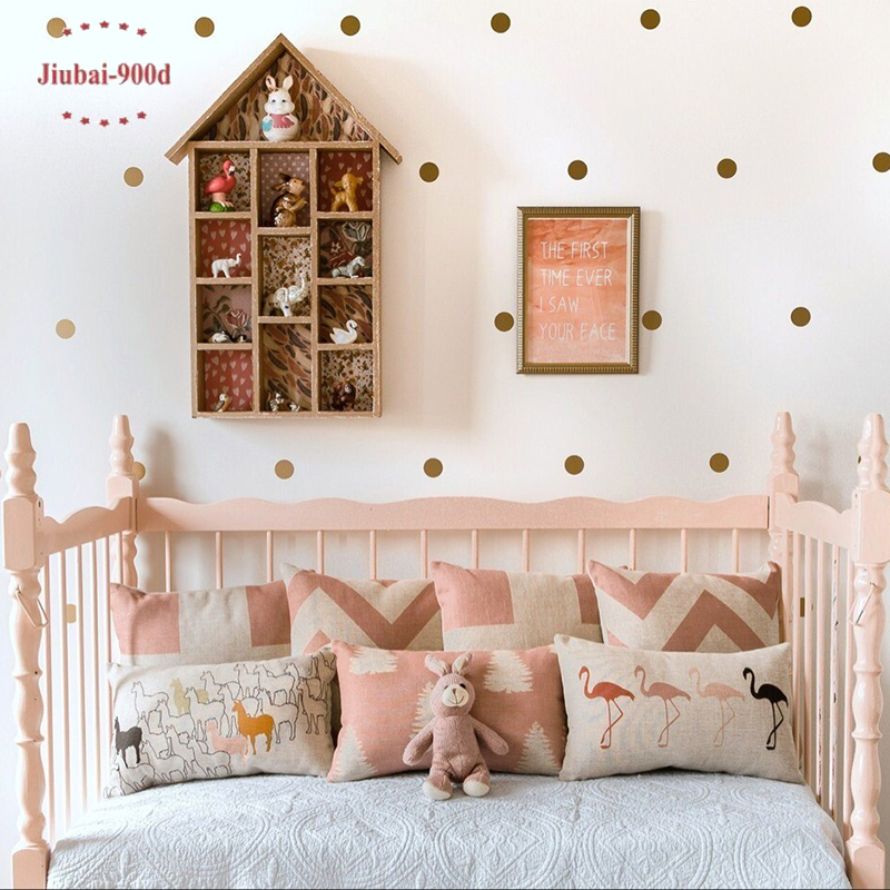 Gold polka dots wall sticker wall decal removable home for How to make polka dots on wall