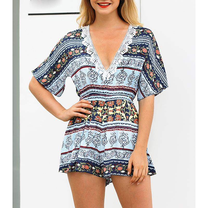 Print Shorts Women Playsuits Rompers Summer Sexy V Neck Bohemian Floral Jumpsuits Casual Women Beach Playsuits WS8803P