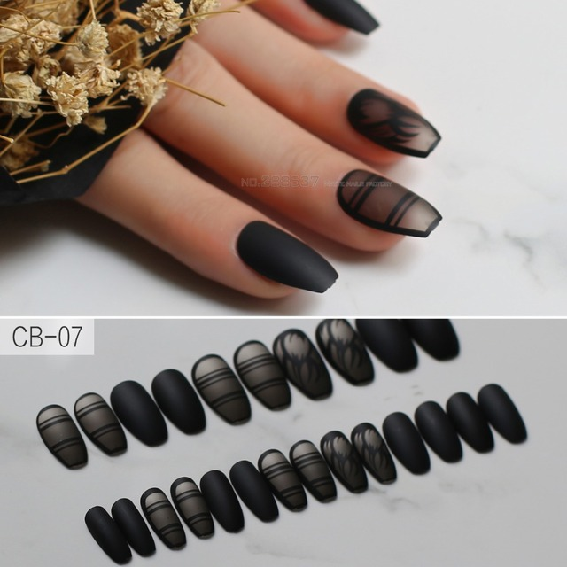 Black Fashion Matte Torch Ballet Fake Nails Coffin Natural Color Line Pattern Hot With