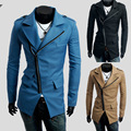 The new men's windbreaker 2016 three inclined zipper men's cultivate one's morality leisure trench coat pocket design