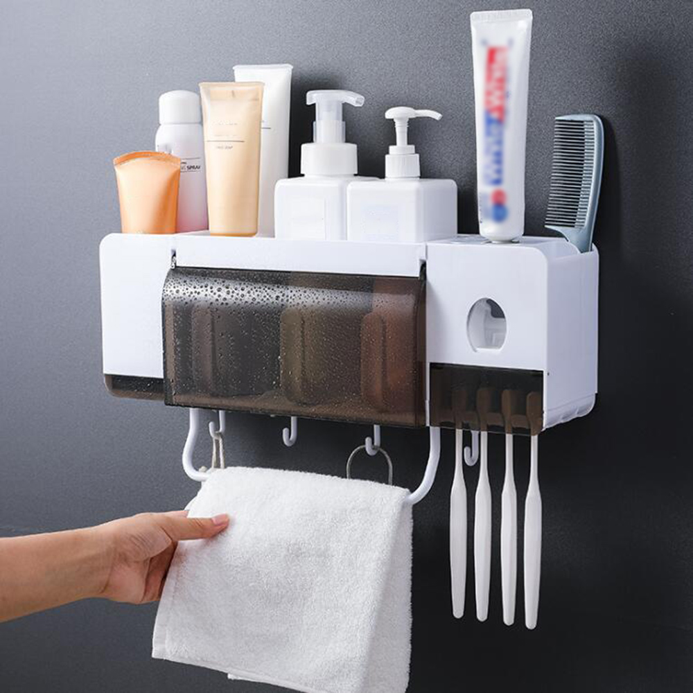 Wall-mounted Toothbrush Holder Automatic Toothpaste Dispenser Bathroom Storage Rack Makeup Organizer Towel Holder With Cups image