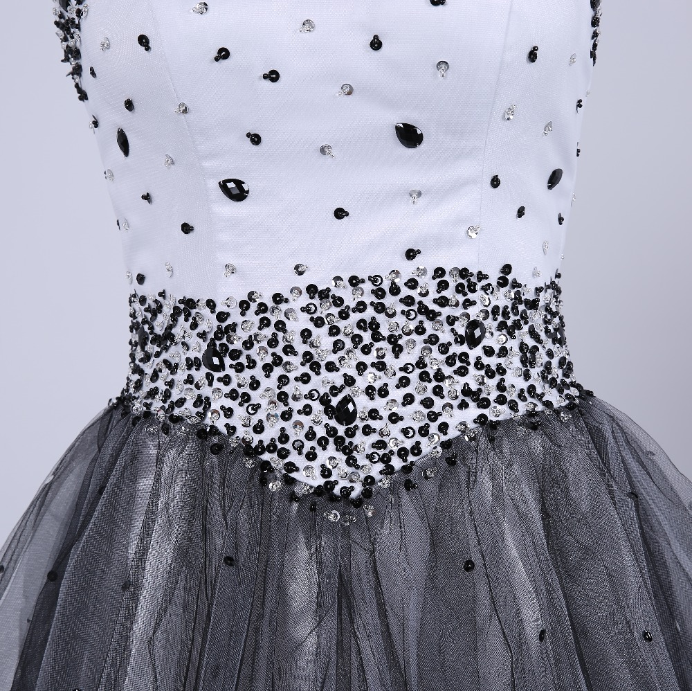 Sparkly beaded tulle white black young ladies cocktail dresses short ...