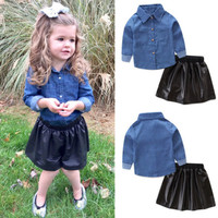 0 5Y Baby Girls Denim Tops Shirt Leather Tutu Skirts Dress 2Pcs Outfits Set Kids Fashion