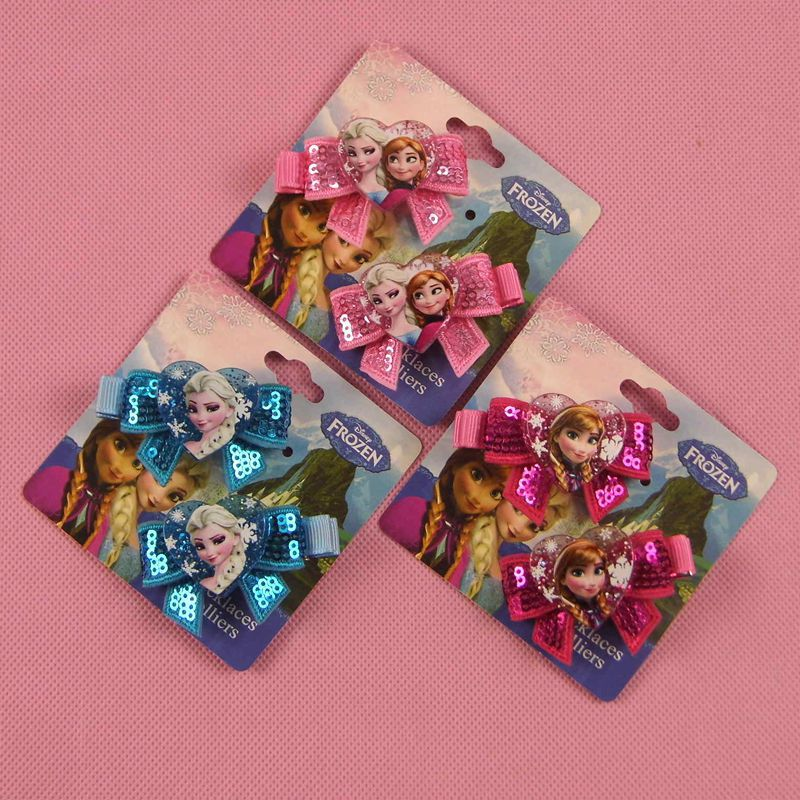 2pcs/lot Children's Doll Accessories Frozen Hair Accessories All Inclusive Baby Girl Hair Accessories Aisha Flash Bow Hairpin