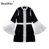 RealShe Women Crimping Collar Dress Spring Elegant Ruffles Flare Sleeve Loose Casual Sweet Dresses Mini Dress