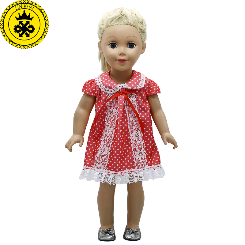 American Girl Doll Clothes Red Dots White Princess fit 18 inch American Girl Doll Accessories Girl's Gift 346 handmad 18 inch american girl doll clothes princess anna dress fits 18 american girl doll mg 032