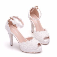 NEW women sexy pumps Fashion high heeled sandals White lace pearl high heels Ladies party shoes women's wedding high heels 35 41