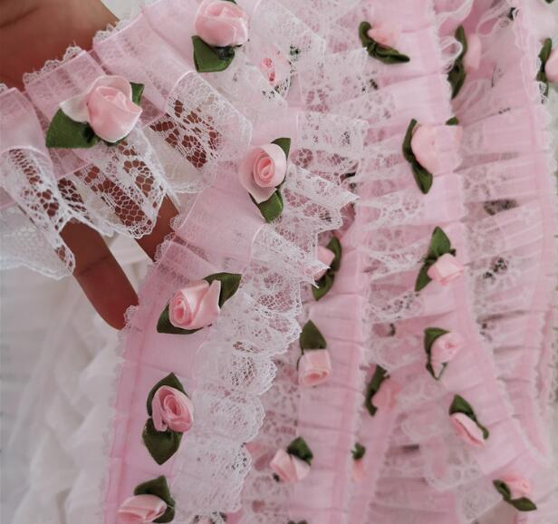 5CM Wide New Embroidery white 3D flower lace fabric trim ribbon DIY sewing applique collar dress craft wedding guipure supply in Lace from Home Garden
