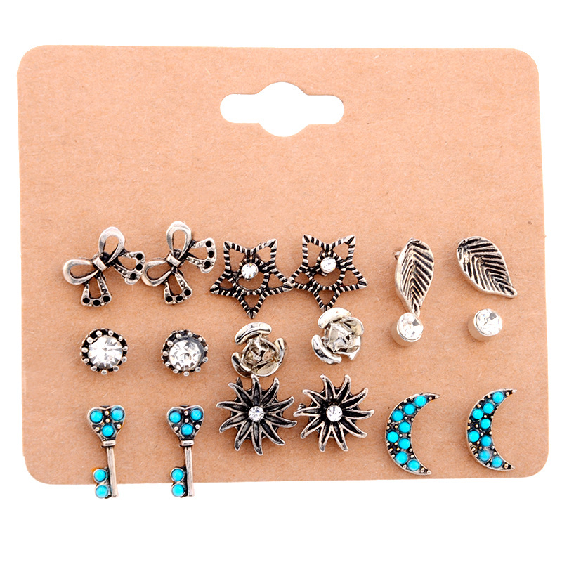 Stud Earrings Diplomatic Sindlan Earrings Boho Jewelry Simple Sun Stars Moon Leaves Bows Roses Crystal Stud Earrings Fashion 9pair/set Earrings For Women Be Novel In Design Jewelry & Accessories
