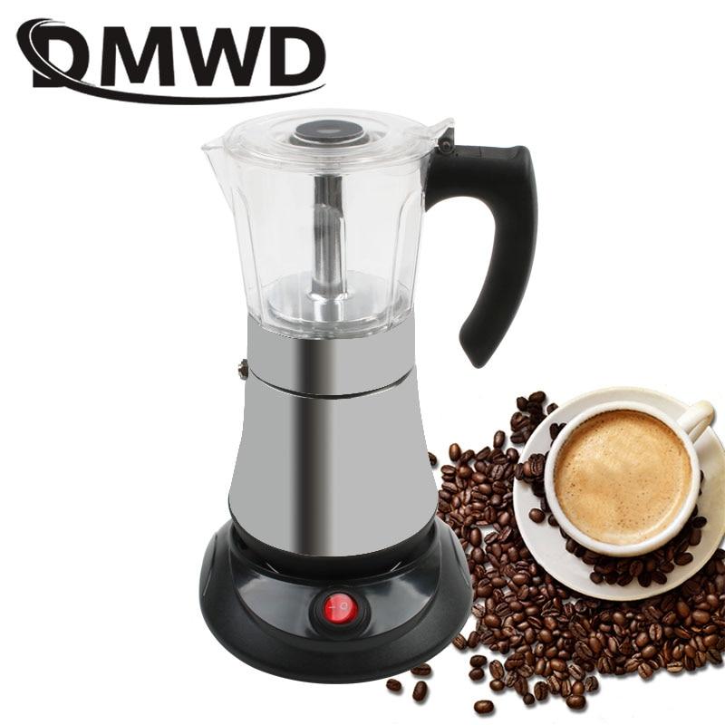 DMWD Espresso Pot Aluminum Electric Moka Stovetop Coffee Maker Italian-style condensed Geyser Tea cup Percolator 6cups 110V 220V russia condensed milk