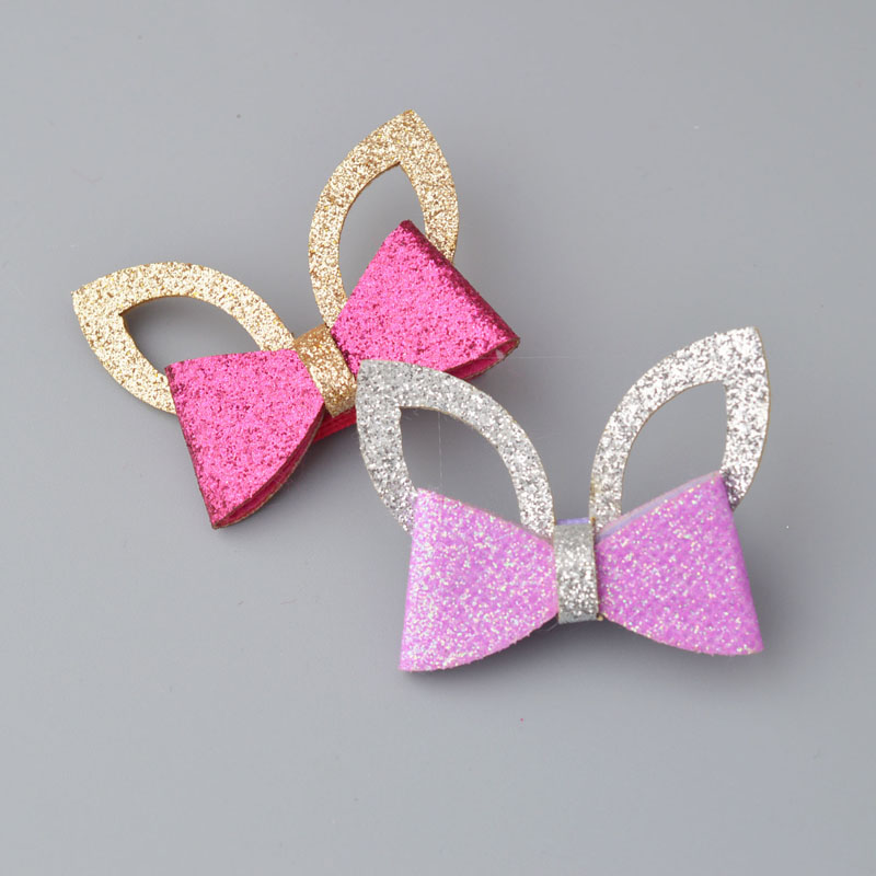 1 piece  Sparking  Bow Barrettes Children Kids Baby Girls  Hair Accessories Clip Hairpins Plaid Star Headwear