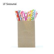 LF Sxsounai 25 шт цветная полосатая бумага соломинки Детские Свадебные праздничные украшения для дня рождения бумажные одноразовые соломинки