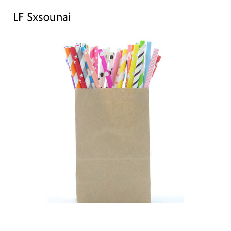 LF Sxsounai 25pcs Color Stripe Paper Straws Baby Wedding Party Kids Birthday Party Decoration Supplies Paper Disposable Straws