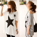 Hot 2016 New Summer Oversized Baggy Tops For Women Five Point Star Pattern Loose Short Sleeve Tee T-shirt Plus Size  NQ854784