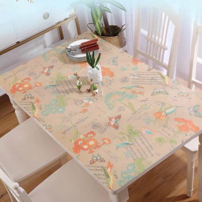 Waterproof PVC Rectangle Soft Glass Desktop Table Cloth Cover Protector Desk Mat
