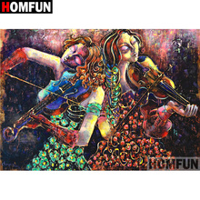 HOMFUN 5D DIY Diamond Painting Full Square/Round Drill Violin girl Embroidery Cross Stitch gift Home Decor Gift A09176