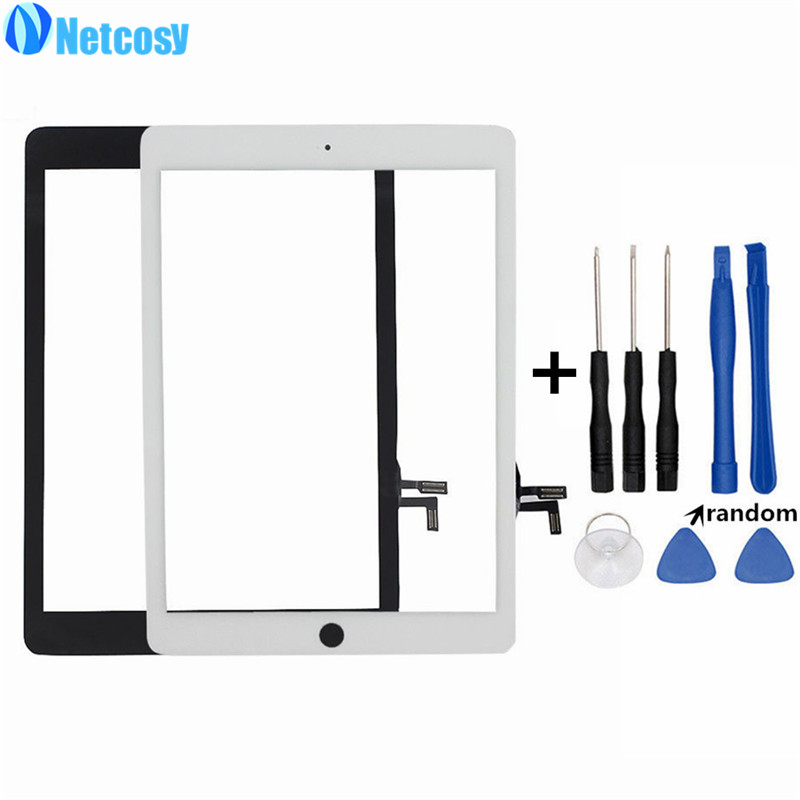 Netcosy For iPad Air Touchscreen High Quality Black & White Touch Screen Glass Digitizer for iPad 5 tablet touch panel & Tools original touch screen digitizer for ipad mini2 white black new tp ic replacement glass screen