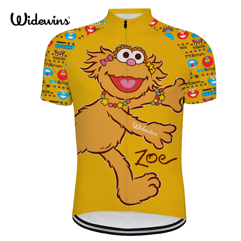 Men Yellow Cartoon Cycling Jersey Tops Bike T-Shirt Short Sleeve Bicycle Clothes
