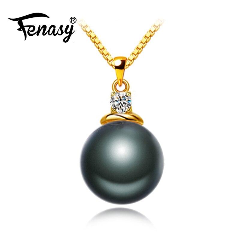 FENASY 18 K pendentif doré Rond Noir de Tahiti bijoux en perles Colliers et Pendentifs Bohème Pendentifs Envoyer S925 Argent Colliers