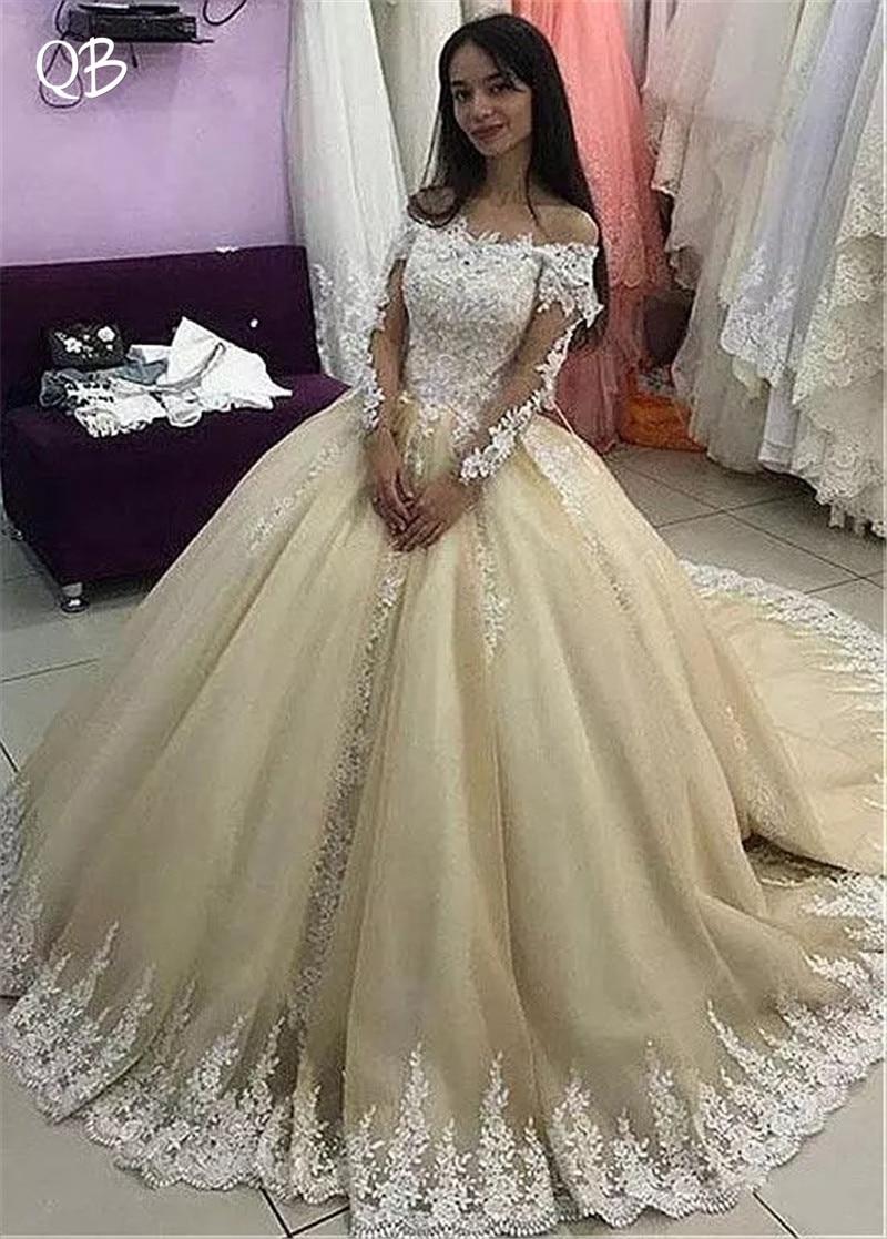 Princess Long Sleeve Lace Beading Tulle Vintage Luxury Wedding Dresses Wedding Gowns 2019 New Fashion Custom Made DW284
