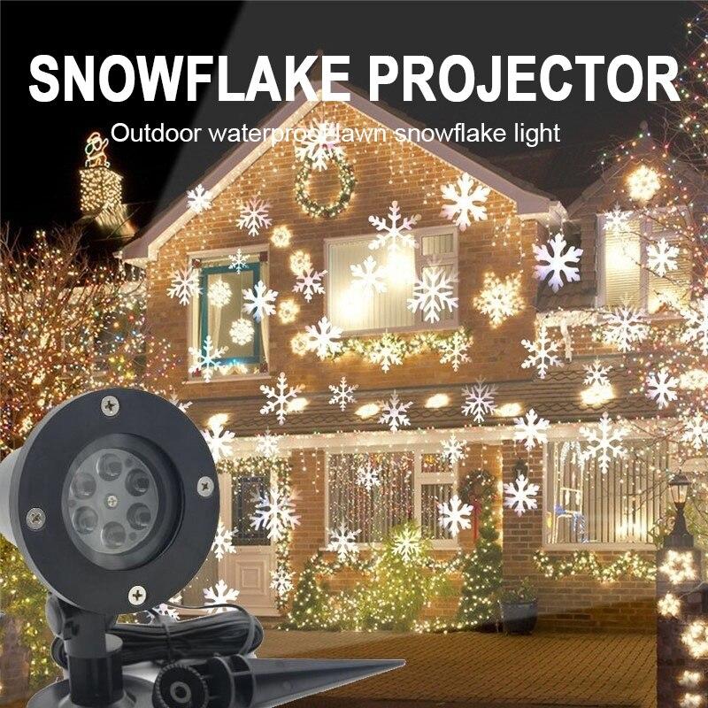 12 Patterns Christmas Laser Snowflake Projector LED Outdoor Waterproof Disco Lights Home Garden Star Light Indoor Decoration