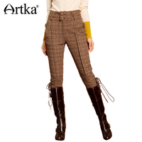 ARTKA Women's Classic Trousers 2018 Autumn & Winter Calf Length Pants Women Knight Causal Breeches Plaid Vintage Pants KA10270Q