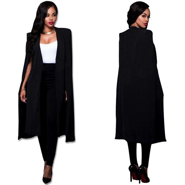 Женщины Плащ Кабо Длинный Блейзер Пальто Мода Черный Белый Личность Зубчатый Шеи Нагрудные Сплит Куртка Костюмы Рабочая Одежда Blazer Feminino