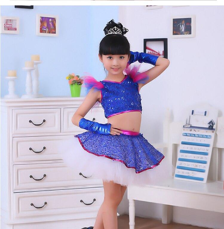 8b86d4f29c Dzieci DS kostium taneczny Dziewczyny Modern Jazz kostiumy do tańca Dziecko  Błyskotka Taniec Odzież Cekiny spódnica z przędzy Kostiumy