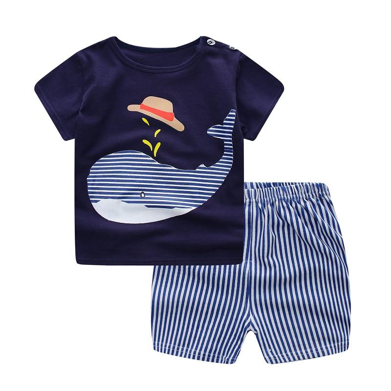 2017 الأزياء الكرتون طباعة الملابس مجموعات الصيف طفل الفتيان الفتيات تي شيرت + عارضة مخطط السراويل البدلة 2 قطع