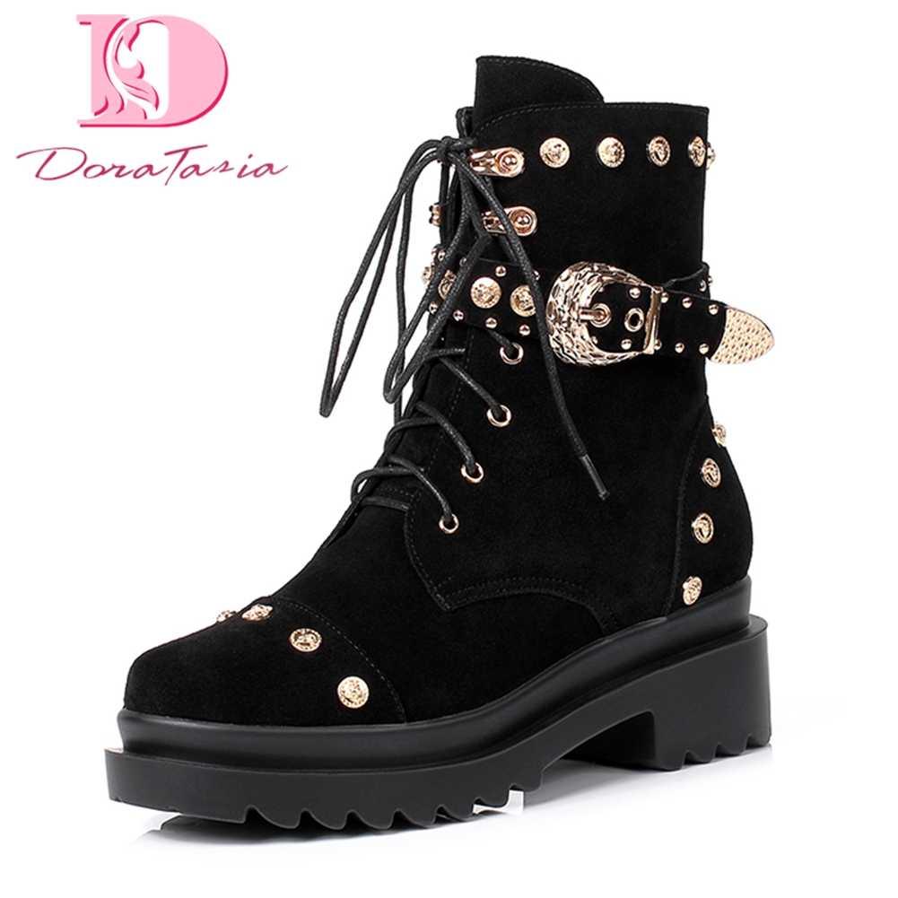 Doratasia 2018 Cow Suede Platform Elegant รองเท้ารองเท้าผู้หญิง Lace Up ฤดูใบไม้ร่วงฤดูหนาวขายรองเท้าผู้หญิงรองเท้า