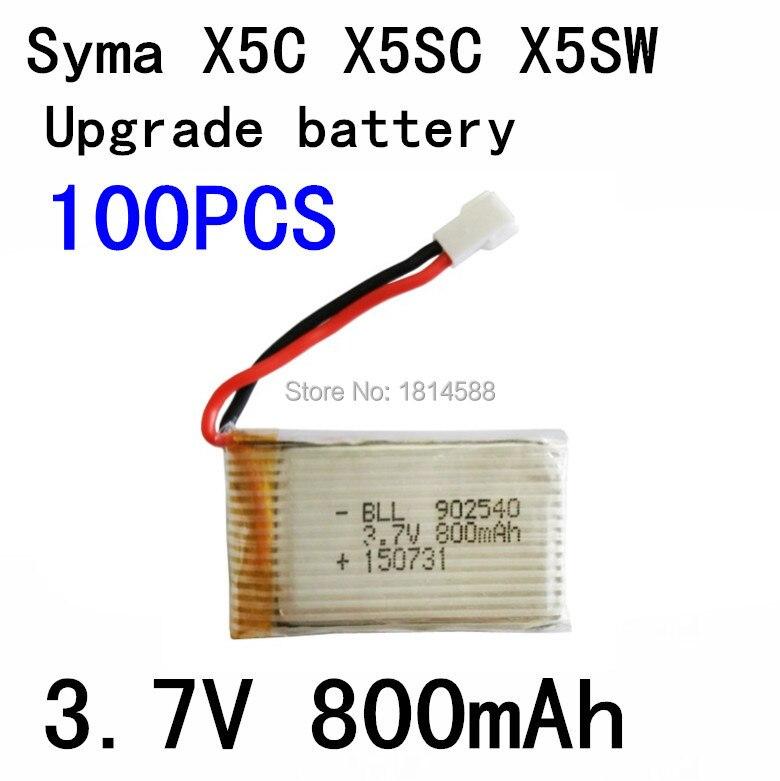 100 pièces 800 mAh Batterie Pour Syma X5C X5SW X5C-1 V931 H5C CX-30 CX-30W SS40 FQ36 T32 T5W H42 quadrirotor Pièces De Rechange