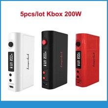 5ชิ้นแท้Kanger KBox TC 200วัตต์บุหรี่อิเล็กทรอนิกส์Mods KangerTech 200วัตต์VW TCกล่องสมัย18650แบตเตอรี่Vaporizer Vs Wismec RX2