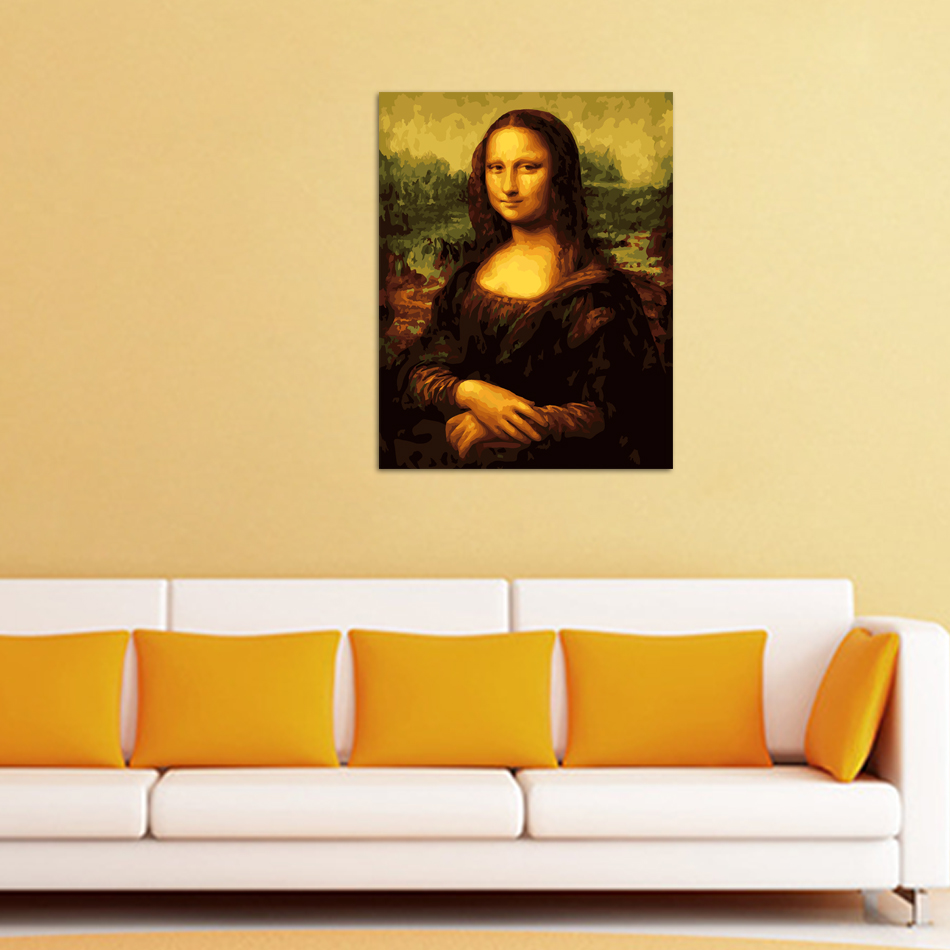 framed Mona Lisa diy oil Painting by numbers wall art cuadros ...