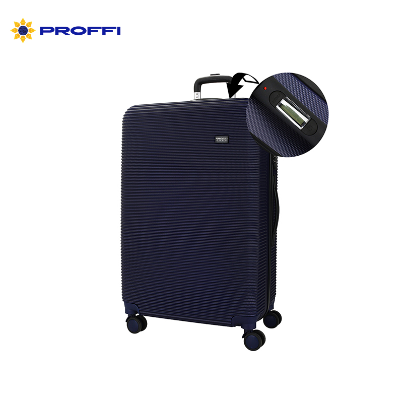 Good blue suitcase PROFFI TRAVEL PH8863navy, L, large plastic built-in weights, on wheels combination lock 74x48x24cm bright blue proffi travel ph8367violet s plastic suitcase with 4 wheels with combination lock