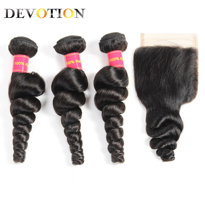 Peruvian Hair Loose Wave Bundles With Closure 100% Human Hair Weave Bundles With Closure Natural Color Non Remy Hair Extensions