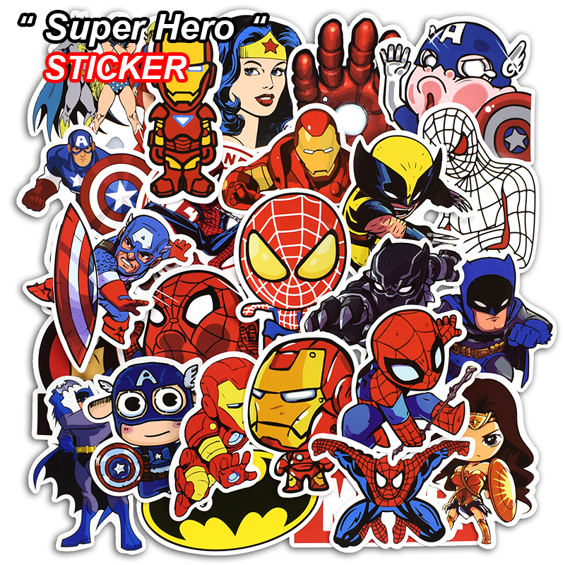 50 Pcs Super Hero Stickers for Luggage Laptop Skateboard Bicycle Motorcycle Car Styling PVC Waterproof Not Random Sticker new 50 pcs anime stickers for laptop bike phone skateboard luggage car styling motorcycle doodle pvc waterproof sticker
