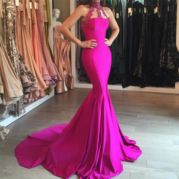 2K19 New Summer Sexy Sheer High-Neck Lace Appliques Mermaid Prom Dresses Sleeveless Sweep Train Red Carpet Dress Evening Gowns