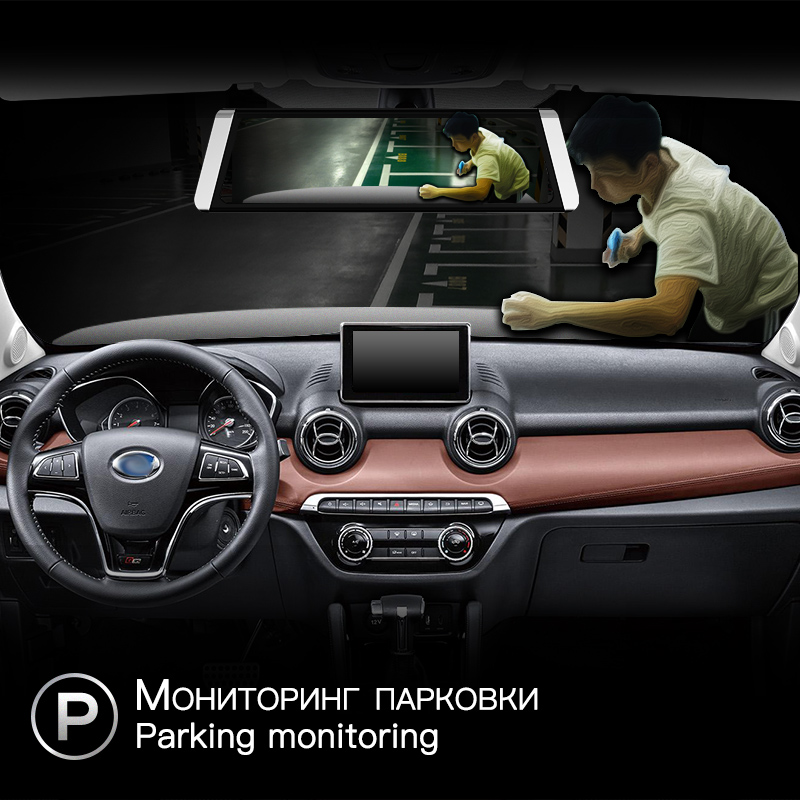 JADO D800s X7 Dash Cam Stream Rearview Mirror LDWS GPS Track 10 IPS Touch Screen Full HD 1080P Car Dvrs Recorder 2