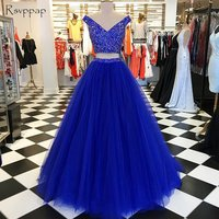 Long Prom Dresses 2018 V neck Sleeveless Beaded Crystals Floor Length Royal Blue African Two Piece Prom Dress
