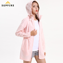 Supfire Sunscreen Jackets Women Running Cycling Sports Wind Coat Long Sleeve Jerseys Ultraviolet-proof Hooded Cardigan C013
