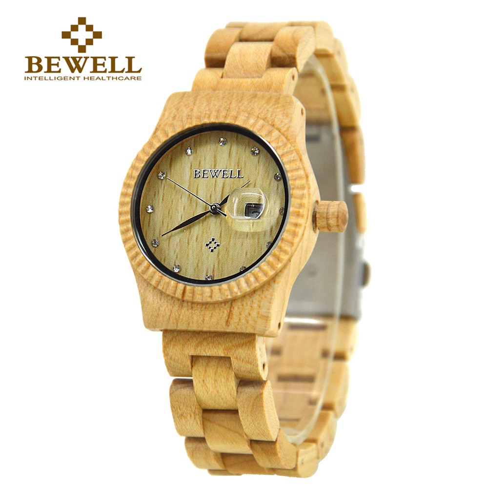 BEWELL Wooden Fashion Woman Watches with Crystal Scale Auto Date Quartz Brand Analog Wood Watch Gifts