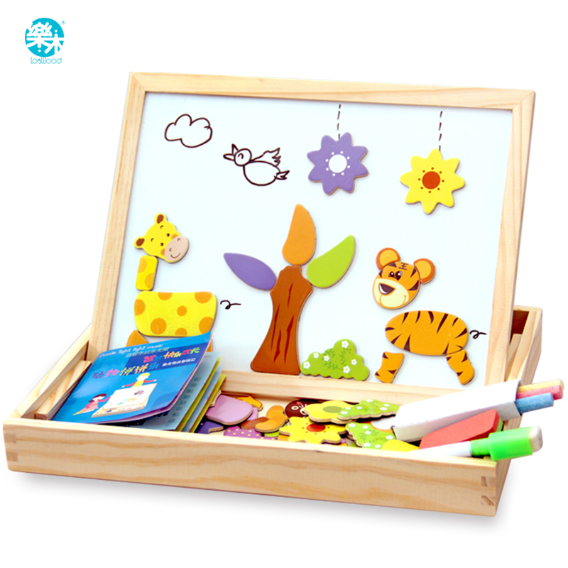 100+PCS Wooden Magnetic Puzzle Figure/Animals/ Vehicle /Circus Drawing Board 5 Styles Educational Wooden Toy Gift For Children