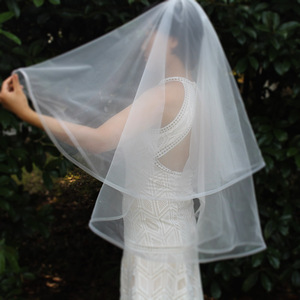 Image 4 - Short 2 Layers Wedding Veil with Horsehair Edge 2T Elegant New White Ivory Bridal Veil with Comb Wedding Accessories