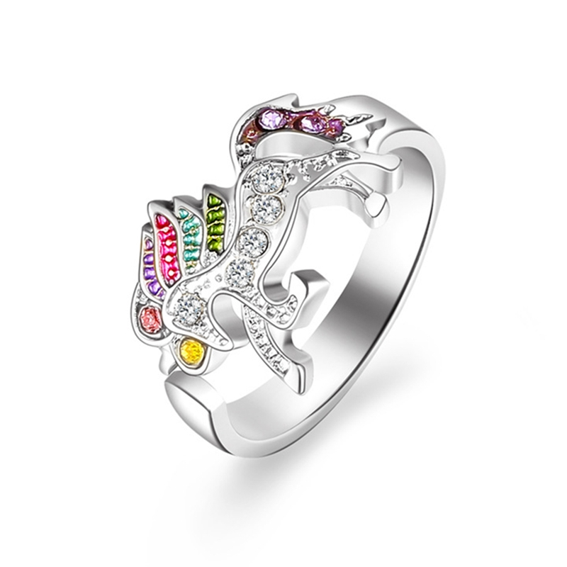 Fashion Cute Cartoon Unicorn Ring for Women Adjustable Colorful Rhinestone Crystal Finger Open Ring Jewelry Gift For Girls