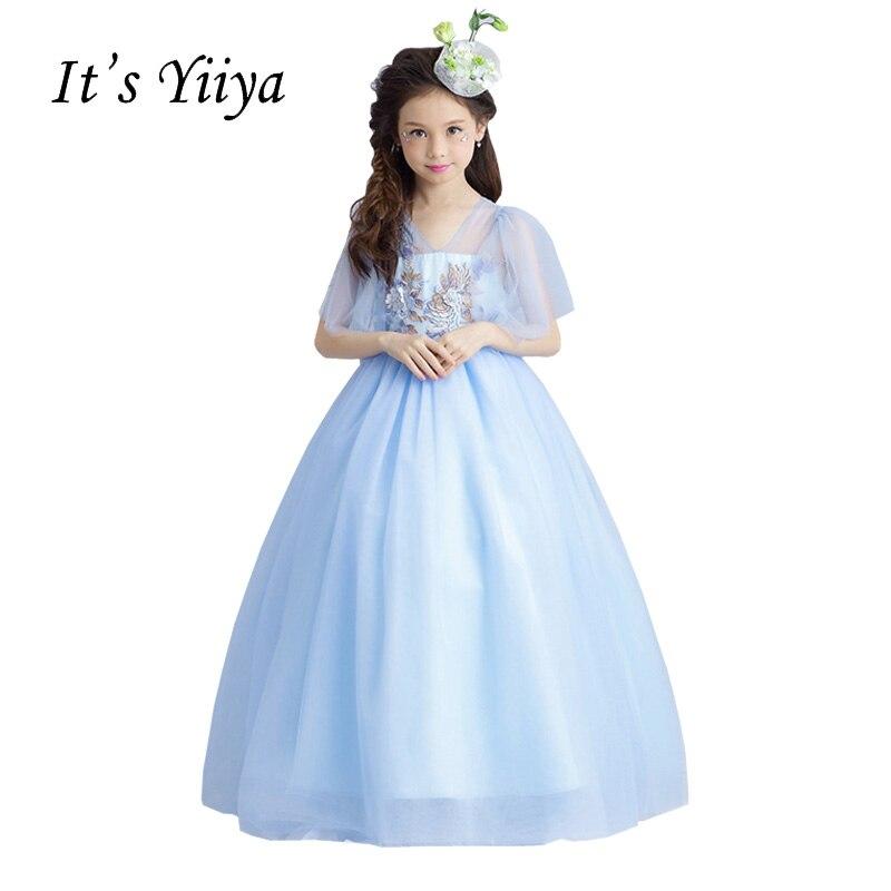It's YiiYa New Blue Half Sleeves Zipper Embroidery Illusion Floor-length Ball Gowns Princess   Flower     Girls     Dress   Communion TS268